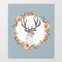 Deer and Wreath Print Canvas Print