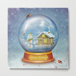 Merry christmas glass ball  Metal Print