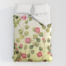 """""""Spring pink flowers and leaves"""" Comforters"""