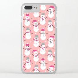 Snowman pattern illustration by charlotte winter snowflakes mittens scarves Clear iPhone Case