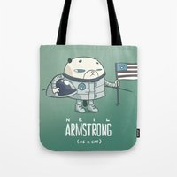 neil gaiman Tote Bags featuring Neil Armstrong (as a cat) by Mr Scotch