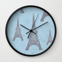 paris Wall Clocks featuring Paris by sinonelineman