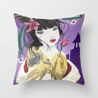 mulan Throw Pillows featuring Mulan by marmaseo