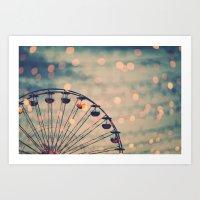 ferris wheel Art Prints featuring Ferris Wheel by Juste Pixx Photography