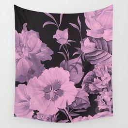 Pink florals on dark background vintage pattern Wall Tapestry
