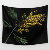 soviet Wall Tapestries featuring Silver Wattle Flowers by digital2real