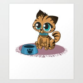 Brown Cat with Stripes and Beanie Eyes Art Print
