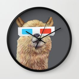 cool alpaca with 3d glasses Wall Clock