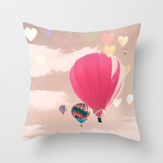 Hot air balloon and heart bokeh on pale pink Throw Pillow