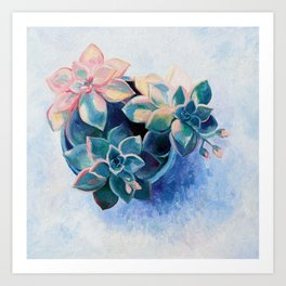 Pastel Succulents - an oil painting on canvas Art Print
