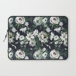 Hand painted blush pink white green watercolor floral Laptop Sleeve