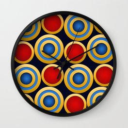 Elegant  Pattern, Striking Gold Rings with Red,Blue and Dark Blue Background Wall Clock