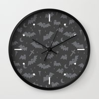 bats Wall Clocks featuring Bats by Sil Elorduy