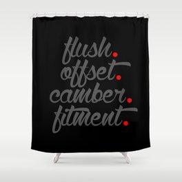 flush offset camber fitment v4 HQvector Shower Curtain