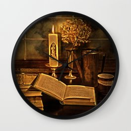 Old books and candle Wall Clock