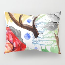Hand painted red pink green watercolor geometrical abstract roses Pillow Sham