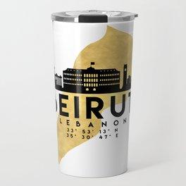 BEIRUT LEBANON SILHOUETTE SKYLINE MAP ART Travel Mug