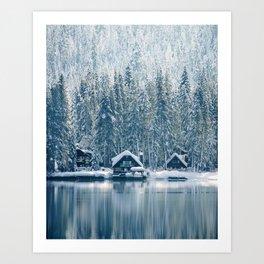 Winter's Cottage (Color) Art Print