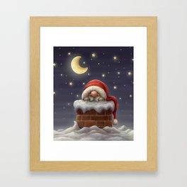 Little Santa in a chimney Framed Art Print