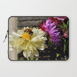Close-up of a Busy Bee on a Butter White Flower Laptop Sleeve