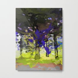 Tree Avenue Purple Green Cobalt Blue Metal Print