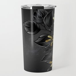 Black Background with Black Orchid Travel Mug