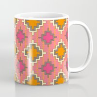 kilim Mugs featuring tangerine kilim by Sharon Turner