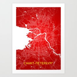 Sankt Peterburg map Art Print