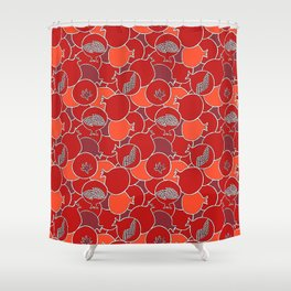 Pomegranate Harvest with Fruit and Seeds Shower Curtain