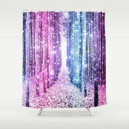 Magical Forest : Pastel Pink Lavender Aqua Periwinkle Ombre Shower Curtain