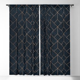 Gold Art deco on Navy ink Blackout Curtain