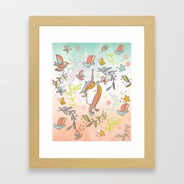 Pastel Vintage Unicorn - Illustrated unicorn and birds - pink and blue unicorn Framed Art Print