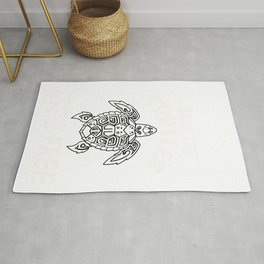 Save the Turtles Gift. Keep the Sea Plastic Free Design print Rug