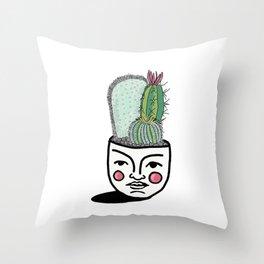 Cacti face pot Throw Pillow