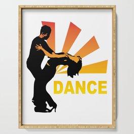 dancing couple silhouette - brazilian zouk Serving Tray