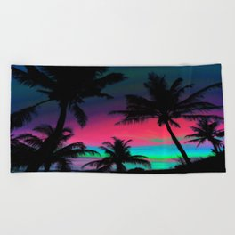 Deep Pink Palm Tree Sunset Beach Towel