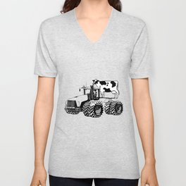 stolen tractor and cow Unisex V-Neck