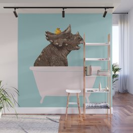 Playful Triceratop in Bathtub Wall Mural
