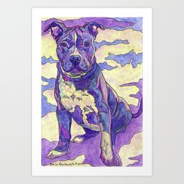 Rainbow Blue Nose Pitbull Art Print