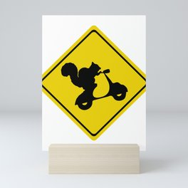 Squirrel on a Scooter Street Sign Mini Art Print