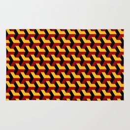 Barcelona 3d geometric pattern in yellow, red and black Rug
