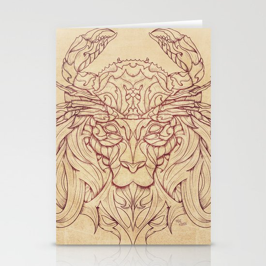 Lion Crab Stationery Cards
