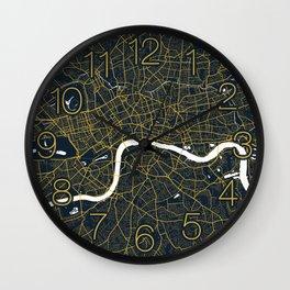 London City Map of England - Gold Art Deco Wall Clock