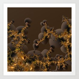 Organic Explosion of Chocolates - Fractal Golden Lava Art Print