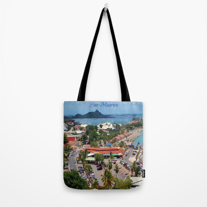Colorful island and city scenes of Sint Maarten - St. Martin Tote Bag