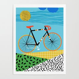 Roadie - peugeot px10, bicycle art print, cycling art, gifts for cyclists, memphis art print Poster