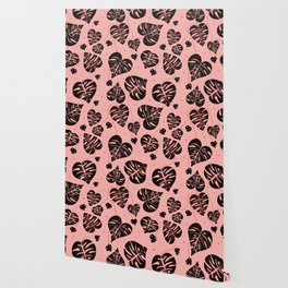Monstera black and pink pattern Wallpaper