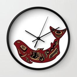 Pacific Northwest Salmon Native American Indian Art Wall Clock