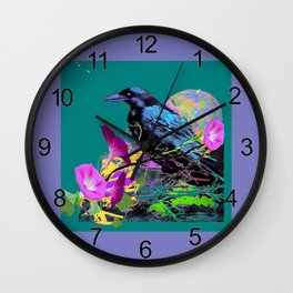 Pink Morning Glories & Crow Teal Color Design Wall Clock