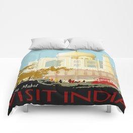 Visit India - Taj Mahal - Vintage Travel Poster Comforters